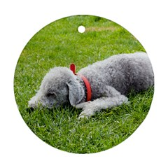 Bedlington Terrier Sleeping Round Ornament (Two Sides)