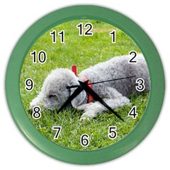 Bedlington Terrier Sleeping Color Wall Clocks