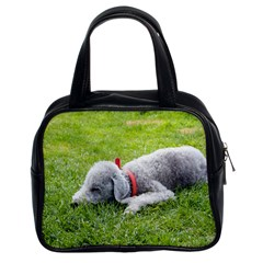 Bedlington Terrier Sleeping Classic Handbags (2 Sides)
