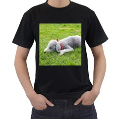 Bedlington Terrier Sleeping Men s T-Shirt (Black)