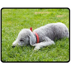 Bedlington Terrier Sleeping Fleece Blanket (Medium)