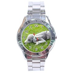 Bedlington Terrier Sleeping Stainless Steel Analogue Watch