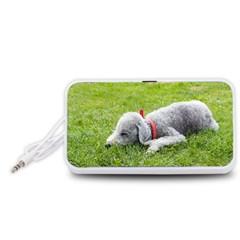 Bedlington Terrier Sleeping Portable Speaker (White)