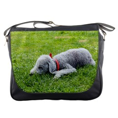 Bedlington Terrier Sleeping Messenger Bags