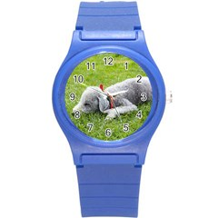 Bedlington Terrier Sleeping Round Plastic Sport Watch (S)