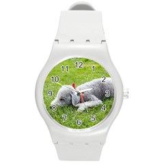 Bedlington Terrier Sleeping Round Plastic Sport Watch (M)