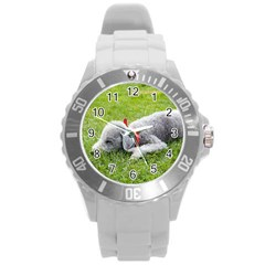 Bedlington Terrier Sleeping Round Plastic Sport Watch (L)