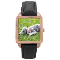 Bedlington Terrier Sleeping Rose Gold Leather Watch