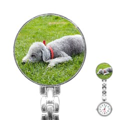 Bedlington Terrier Sleeping Stainless Steel Nurses Watch