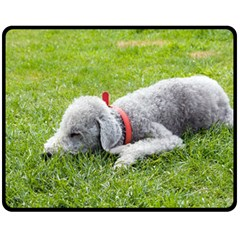 Bedlington Terrier Sleeping Double Sided Fleece Blanket (Medium)
