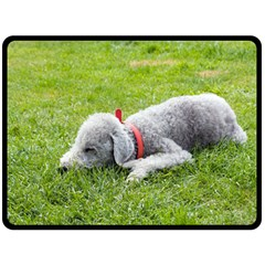 Bedlington Terrier Sleeping Double Sided Fleece Blanket (Large)
