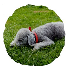 Bedlington Terrier Sleeping Large 18  Premium Flano Round Cushions