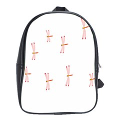 Animal Dragonfly Fly Pink School Bags(Large)