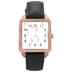Animal Dragonfly Fly Pink Rose Gold Leather Watch
