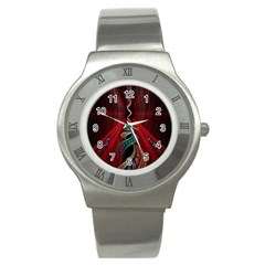 Artistic Blue Gold Red Stainless Steel Watch
