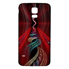 Artistic Blue Gold Red Samsung Galaxy S5 Back Case (White)