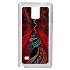 Artistic Blue Gold Red Samsung Galaxy Note 4 Case (White)