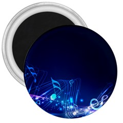 Abstract Musical Notes Purple Blue 3  Magnets