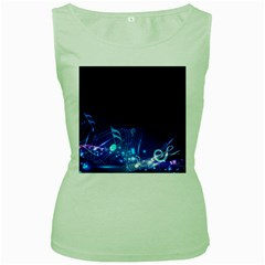 Abstract Musical Notes Purple Blue Women s Green Tank Top