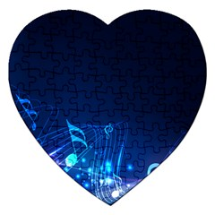 Abstract Musical Notes Purple Blue Jigsaw Puzzle (Heart)