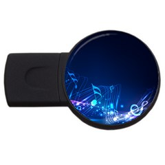 Abstract Musical Notes Purple Blue USB Flash Drive Round (4 GB)