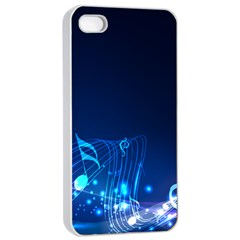 Abstract Musical Notes Purple Blue Apple iPhone 4/4s Seamless Case (White)