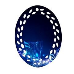 Abstract Musical Notes Purple Blue Oval Filigree Ornament (Two Sides)