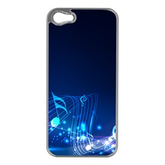 Abstract Musical Notes Purple Blue Apple iPhone 5 Case (Silver)
