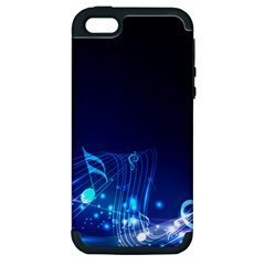 Abstract Musical Notes Purple Blue Apple iPhone 5 Hardshell Case (PC+Silicone)