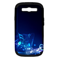 Abstract Musical Notes Purple Blue Samsung Galaxy S III Hardshell Case (PC+Silicone)