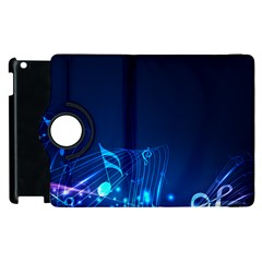Abstract Musical Notes Purple Blue Apple iPad 2 Flip 360 Case