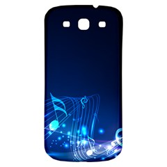 Abstract Musical Notes Purple Blue Samsung Galaxy S3 S III Classic Hardshell Back Case