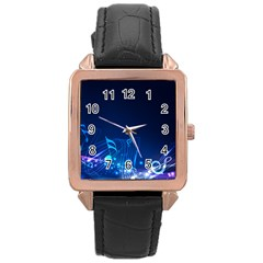 Abstract Musical Notes Purple Blue Rose Gold Leather Watch
