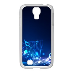 Abstract Musical Notes Purple Blue Samsung GALAXY S4 I9500/ I9505 Case (White)