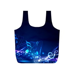 Abstract Musical Notes Purple Blue Full Print Recycle Bags (S)