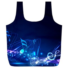 Abstract Musical Notes Purple Blue Full Print Recycle Bags (L)