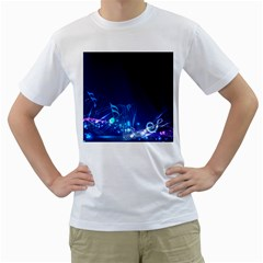 Abstract Musical Notes Purple Blue Men s T-Shirt (White)