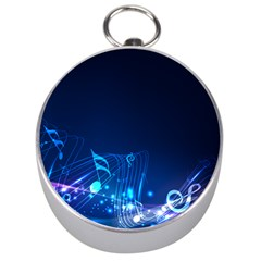 Abstract Musical Notes Purple Blue Silver Compasses