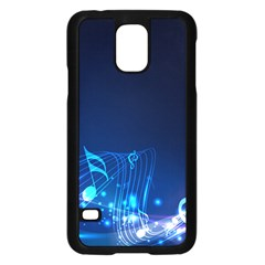 Abstract Musical Notes Purple Blue Samsung Galaxy S5 Case (Black)
