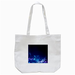 Abstract Musical Notes Purple Blue Tote Bag (White)