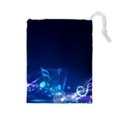 Abstract Musical Notes Purple Blue Drawstring Pouches (Large)