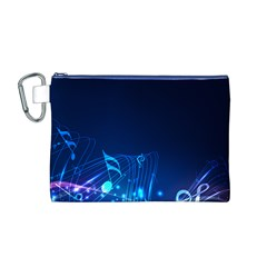 Abstract Musical Notes Purple Blue Canvas Cosmetic Bag (M)