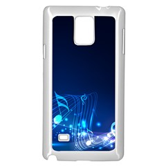 Abstract Musical Notes Purple Blue Samsung Galaxy Note 4 Case (White)