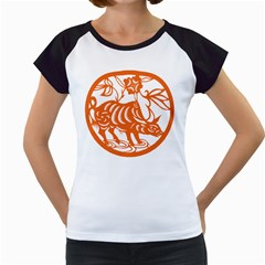 Chinese Zodiac Cow Star Orange Women s Cap Sleeve T