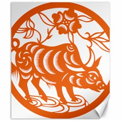 Chinese Zodiac Cow Star Orange Canvas 20  x 24