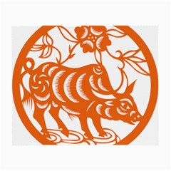 Chinese Zodiac Cow Star Orange Small Glasses Cloth (2-Side)