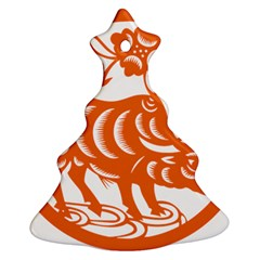 Chinese Zodiac Cow Star Orange Christmas Tree Ornament (Two Sides)