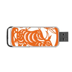 Chinese Zodiac Cow Star Orange Portable USB Flash (Two Sides)