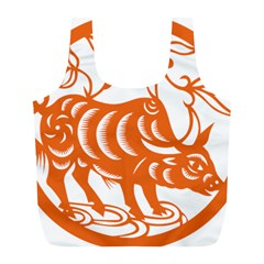 Chinese Zodiac Cow Star Orange Full Print Recycle Bags (L)