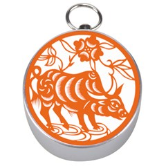 Chinese Zodiac Cow Star Orange Silver Compasses